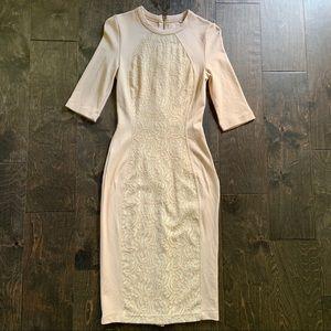 River Island (ASOS) Bodycon Midi Dress in Peach